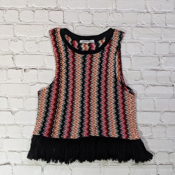 Zara Tops - Zara Multicolored Crochet Cropped Sleeveless Top